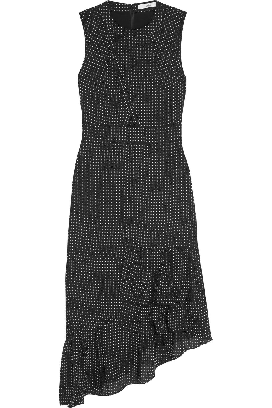 Tibi Estrella Ruffled Printed Silk Midi Dress, Black, Women's - Printed, Size: 10