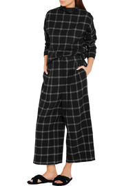 Tibi Edie checked wool-blend culottes