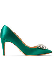 Jewel Blair crystal-embellished satin pumps