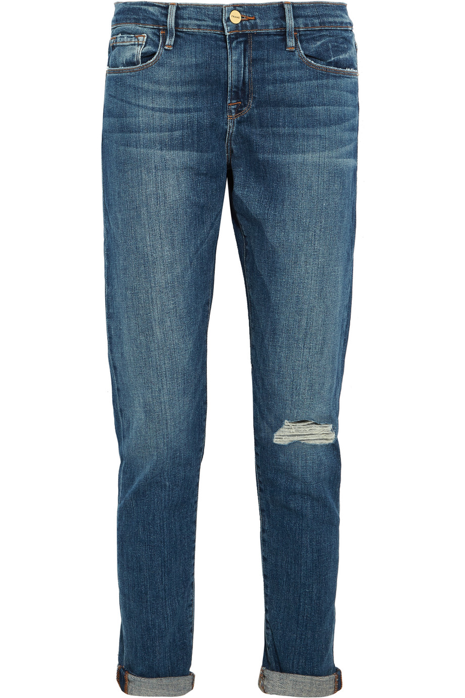 Le Garcon Distressed Mid-Rise Slim Boyfriend Jeans, Mid Denim, Women's, Size: 30