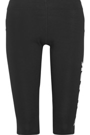 Capri printed stretch cotton-blend jersey leggings