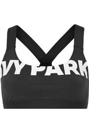 Printed stretch-jersey and mesh sports bra