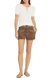 Le Patch Pocket belted suede shorts