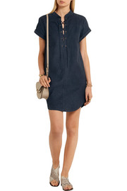 Frame Denim Le Lace Up suede mini dress