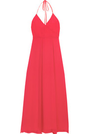 Le Maxi Halter crinkled silk-georgette wrap dress