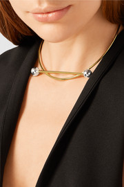Solar gold and silver-plated choker