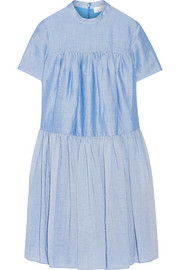 Tiered ramie-blend dress
