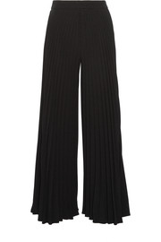 Pleated crepe wide-leg pants