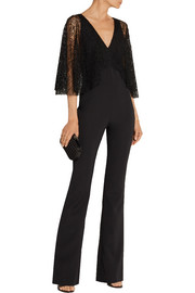 Haney Lace-paneled silk-blend crepe jumpsuit