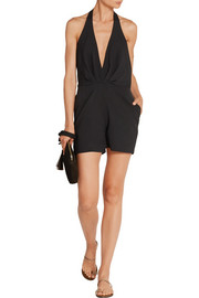 Haney Silk-blend crepe halterneck playsuit