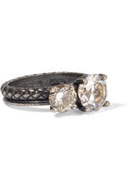 Oxidized silver cubic zirconia ring