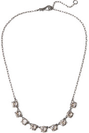 Bottega Veneta Oxidized silver cubic zirconia necklace