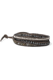 Leather multi-stone wrap bracelet