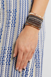 Chan Luu Leather multi-stone wrap bracelet