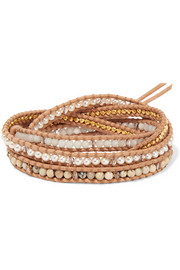 Gold-plated, suede and multi-stone wrap bracelet