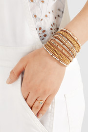 Chan Luu Gold-plated, suede and multi-stone wrap bracelet