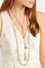 Chan Luu Tasseled gold-plated amazonite necklace