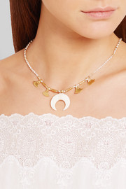 Gold-plated, bone and mother-of-pearl necklace