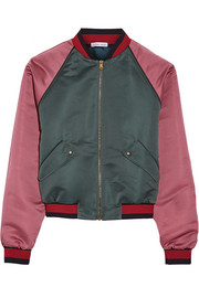 Two-tone duchesse-satin bomber jacket