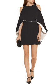 Halston Heritage Cape-effect chiffon mini dress