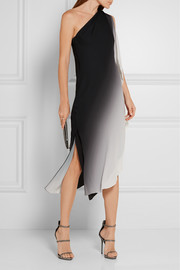 Halston Heritage One-shoulder ombré georgette dress