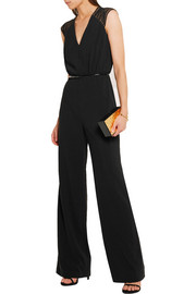 Tulle-paneled embellished stretch-crepe jumpsuit