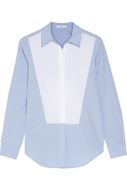 TOME Open-back two-tone cotton-poplin shirt