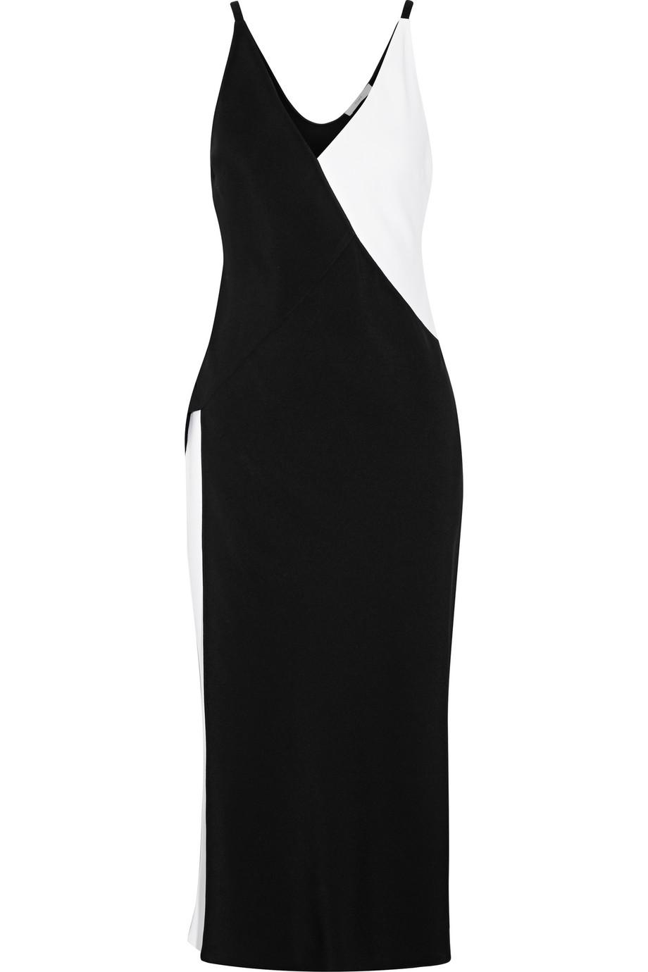 TOME Two-Tone Wrap-Effect Crepe Midi Dress, Size: 8