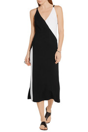 TOME Two-tone wrap-effect crepe midi dress
