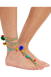 Rosantica Michelita gold-tone, beaded and pompom anklet