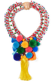 Rosita gold-tone, quartz and pompom necklace