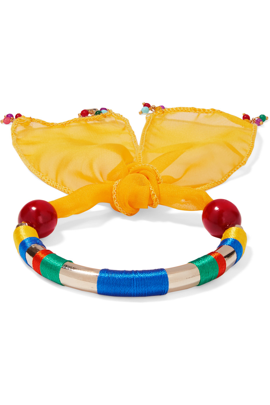 Rosantica Yucatan Gold-Tone, Quartz, Silk-Chiffon and Wood Bracelet, Gold/Yellow, Women's