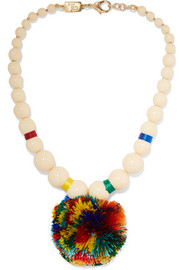 Guatemala gold-tone, bone and pompom necklace