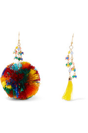 Rosantica Guatemala gold-tone, quartz and pompom earrings