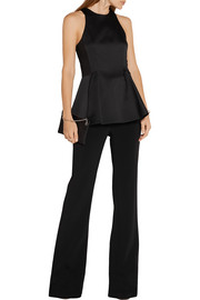 Jason Wu Lace-paneled satin-crepe peplum top