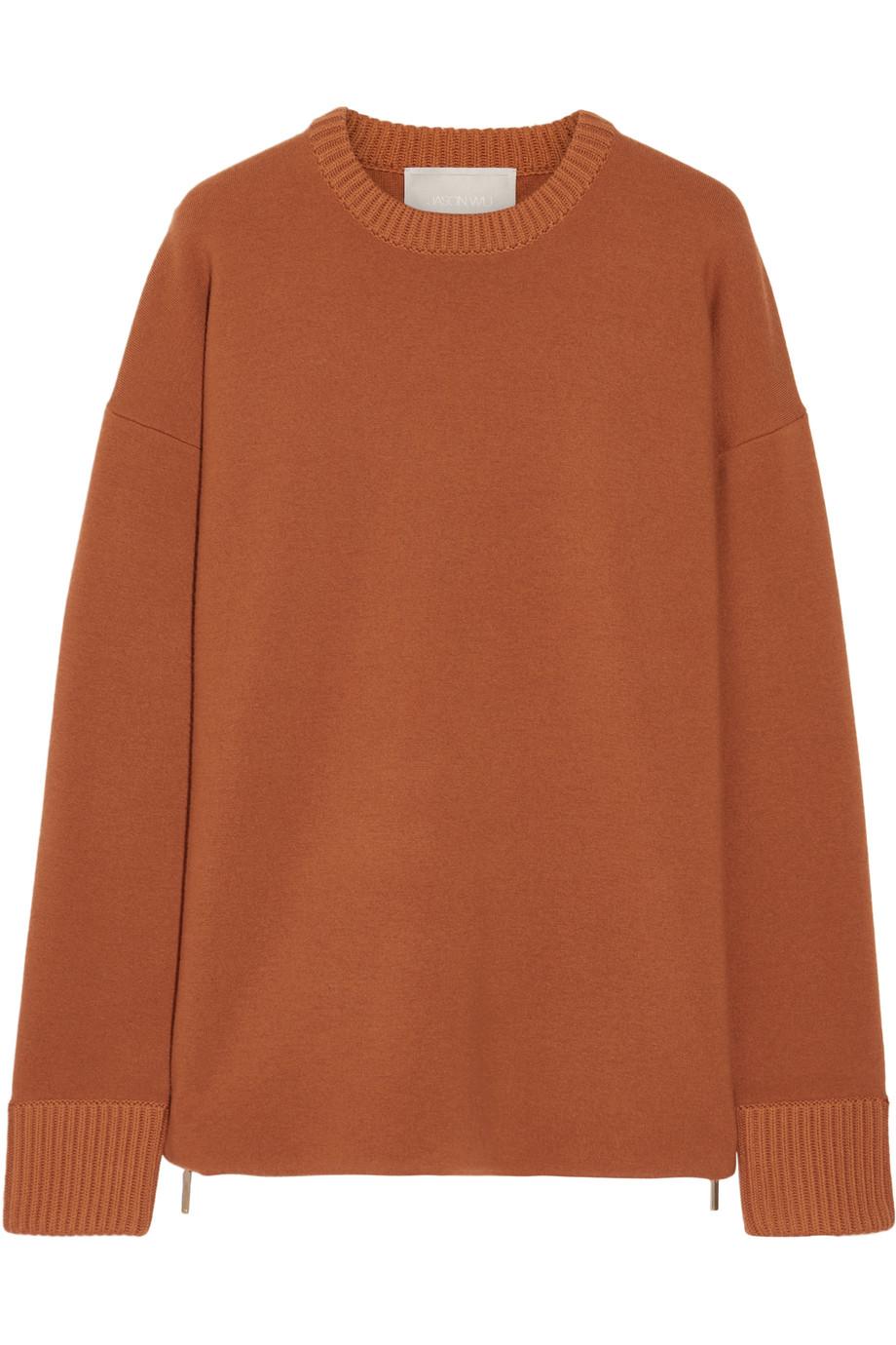 Jason Wu Oversized Zip-Detailed Stretch-Knit Sweater, Orange, Women's, Size: L