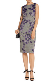 Jason Wu Floral-appliquéd cotton-blend jacquard dress