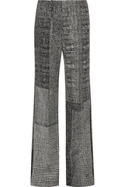 Patchwork wool-jacquard wide-leg pants