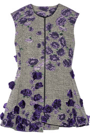 Jason Wu Floral-appliquéd cotton-blend jacquard top