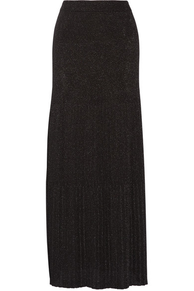 Missoni - Pleated Metallic Crochet-knit Maxi Skirt - Black