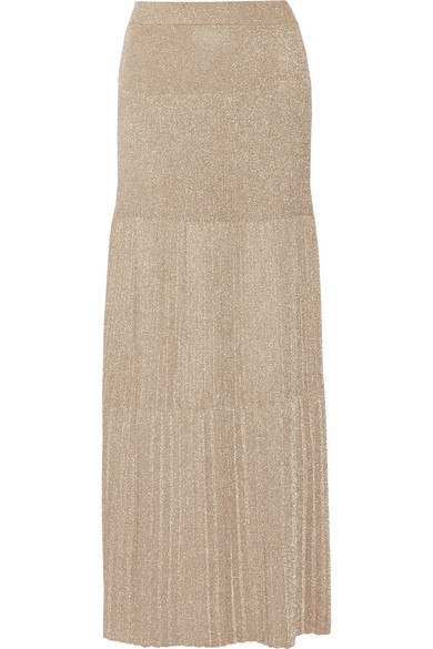 Missoni - Pleated Metallic Crochet-knit Maxi Skirt - Gold
