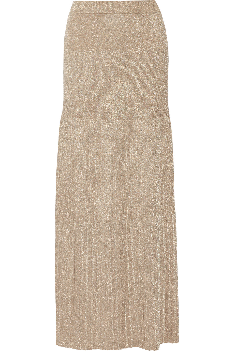 Missoni Pleated Metallic Crochet-Knit Maxi Skirt, Size: 42