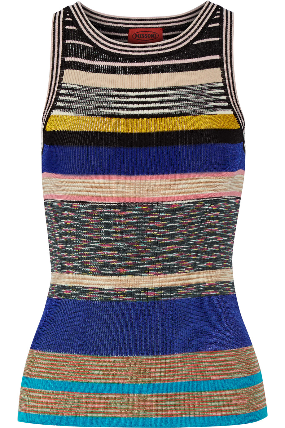 Missoni Striped Crochet-Knit Tank, Blue, Women's, Size: 36