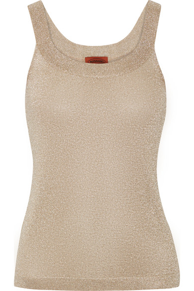 Missoni - Metallic Crochet-knit Tank - Gold
