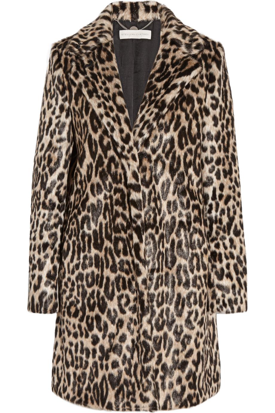 Stella Mccartney Leopard-Print Faux Fur Coat, Leopard Print, Women's, Size: 38