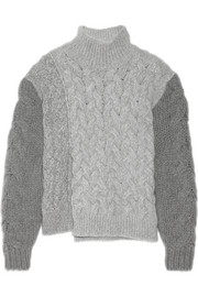Mélange cable-knit wool-blend turtleneck sweater