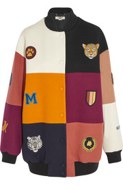 Stella McCartney Embroidered patchwork wool-blend bomber jacket