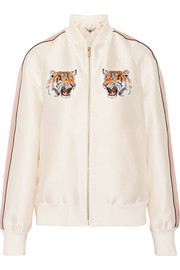 Lorinda embroidered duchesse-satin bomber jacket