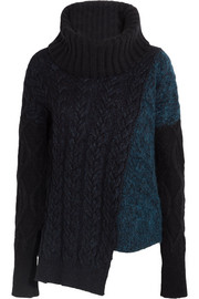 Asymmetric cable-knit wool-blend turtleneck sweater