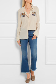 Stella McCartney Cropped frayed mid-rise flared jeans